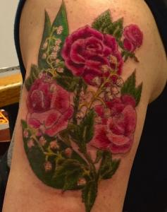 Dawn Lubbert Tattoo Art - Roses and Lily of the Valley