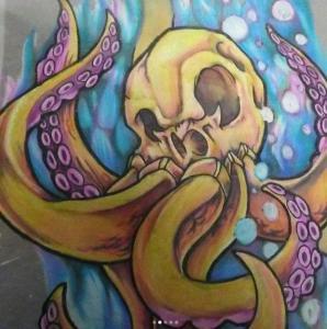 Eric Gaspar Tattoo Art - skull octopus